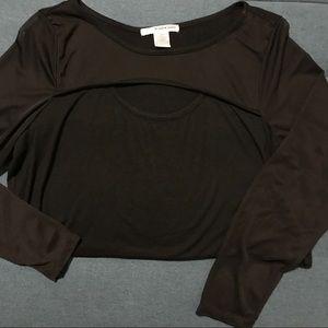 Punk Goth Black Long Sleeve With Mesh Sleeves XL